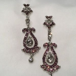 Jewelry - Purple and Clear Crystal Earrings